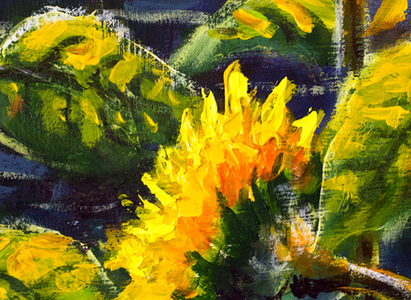 sunflowers in sun Original oil painting of sunflower flowers, beautiful sunflowers flowers on canvas. Modern Impressionism.Impasto artwork.