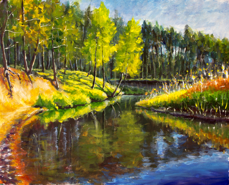 원래 유화 밝은 녹색 나무 물에 반영됩니다. 풍경 물 여름입니다. 자연. 강둑. 시골 풍경입니다. 인상주의 그림.