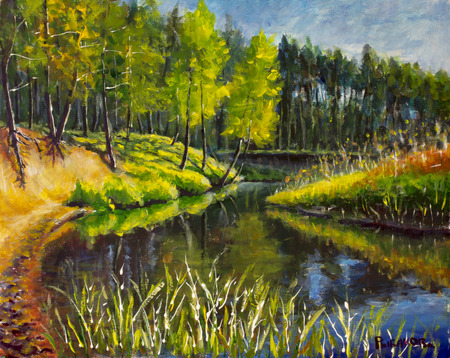 Original oil painting Bright green trees are reflected in the water. Landscape is summer on the water. Nature. River bank. Rural landscape. impressionism painting.