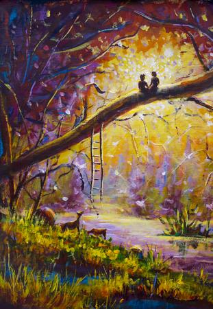 Original Ölgemälde Liebhaber im Traumwald der Liebe auf Leinwand. Schöne Romanze Landschaftskunst - moderne Impressionismusmalerei.