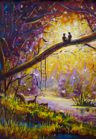 Original pintura al óleo Los amantes en el bosque de ensueño de amor en la lona. Arte del paisaje romántico hermoso - pintura moderna del impresionismo.