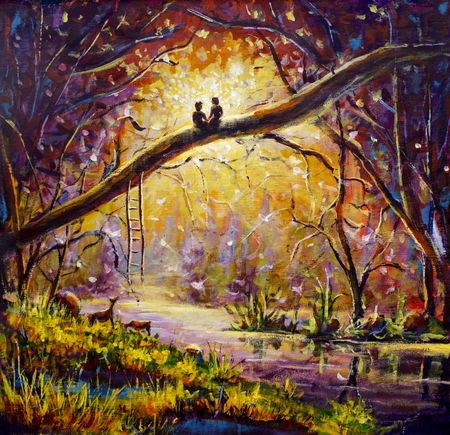 Original oil painting Lovers in dream forest of love on canvas. Beautiful romance landscape art - Modern impressionism painting. 版權商用圖片