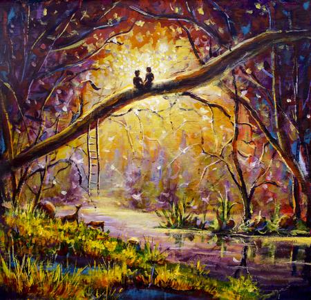 Origineel olieverfschilderij Liefhebbers in een droombos van liefde op canvas. Mooie romantische landschapskunst - Moderne impressionismeschilderij.