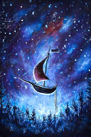 Original Ölgemälde Fliegen eines alten Piratenschiffes. Schönes Seeschiff fliegt über sternenklarem Himmel - abstrakte Märchen, Traum. Peter Pan. Illustration. Postkartenmalerei.