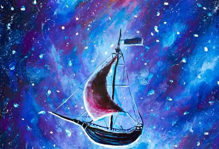 Origineel olieverfschilderij Flying een oud piratenschip. Het mooie Zeeschip vliegt boven de sterrenhemel - abstract sprookje, droom. Peter Pan. Illustratie. Briefkaart schilderij. Stockfoto