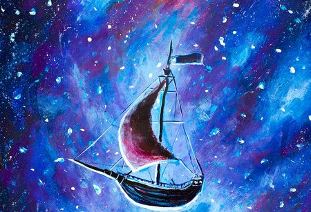 Original oil painting Flying an old pirate ship. Beautiful Sea ship is flying above starry sky - abstract fairy tale, dream. Peter Pan. Illustration. Postcard painting.