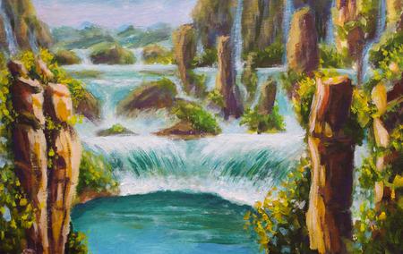Schilderij Hoge gele bergen in China, prachtige turquoise watervallen, prachtige natuur, dromen, berglandschap, grote waterval, fantastische achtergrond, illustratie, briefkaart. Modern impressionisme kunstwerk