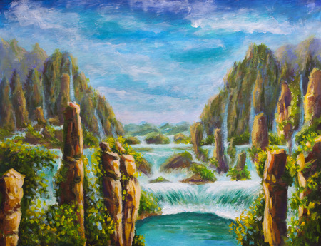 Painting High yellow mountains in China, beautiful turquoise waterfalls, beautiful nature, dreams, mountain landscape, big waterfall, fabulous background, illustration, postcard. Modern impressionism artwork