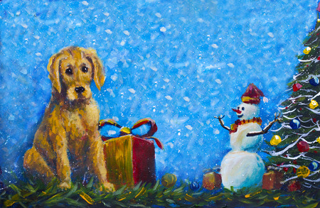 Banner symbol of new year 2018 yellow Puppy dog with gift box original painting. Merry snowman in red caps and Christmas tree handpainted original acrylic artwork.