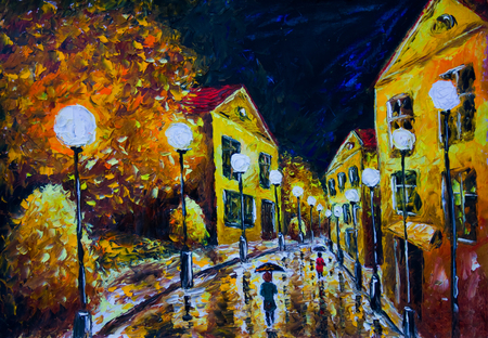 Oil painting night evening city, French Village, yellow houses, white lights, people with umbrellas, wet road, reflection
