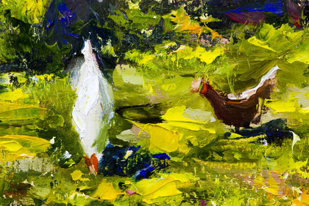two chicken on green grass painting background vector illustration abstract. wallpaper with palette knife texture fragment Oil on canvas large macro sketch, watercolor