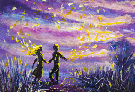 original Painting abstract man and woman are dancing on sunset. Night, nature, landscape, purple starry sky, romance, love, feelings, universe; space. fairy tale Zdjęcie Seryjne
