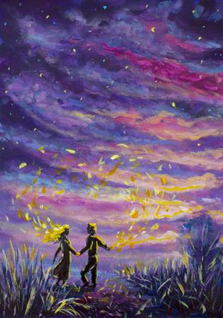 Pintura original hombre y mujer abstractos están bailando en el atardecer. Noche, naturaleza, paisaje, cielo estrellado púrpura, romance, amor, sentimientos, universo; espacio. cuento de hadas