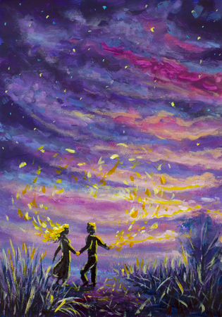 original Painting abstract man and woman are dancing on sunset. Night, nature, landscape, purple starry sky, romance, love, feelings, universe; space. fairy tale Foto de archivo