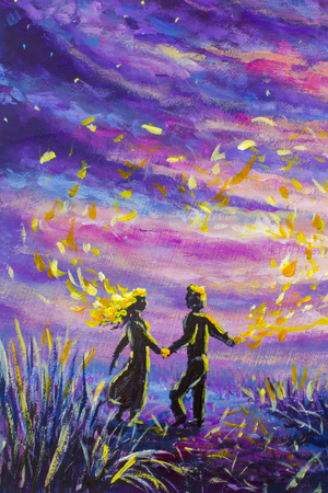 オリジナル絵画抽象的な男女が夕日に踊っています。夜、自然、風景、紫の星空、ロマンス、愛、感情、宇宙。スペース。おとぎ話