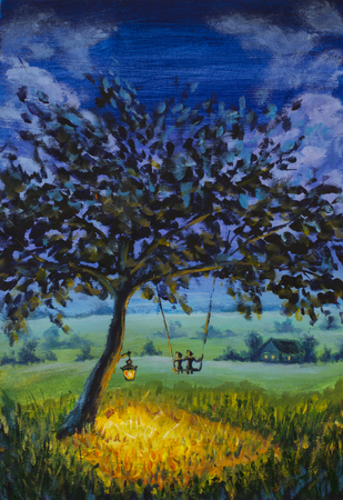 painting Evening rustic landscape, a lantern hanging on a tree, a guy with a girl in love ride on a swing. Green meadows, a lighted meadow, a country house. illustration for book, artwork, sketch