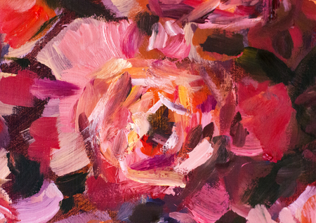 Oil painting close-up flower. Big red violet flowers rose peony closeup macro on canvas. Modern Impressionism. Impasto artwork.