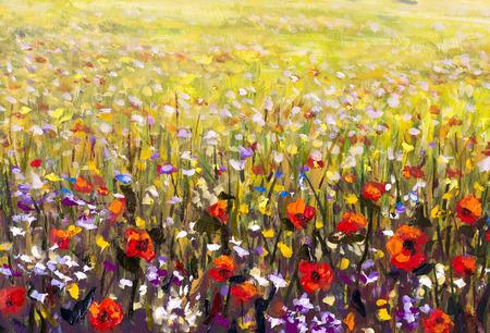 푸른 잔디 작품에 빨간 양 귀 비 꽃밭 유화, 노란색, 보라색과 흰색 꽃 스톡 콘텐츠 - 95302910