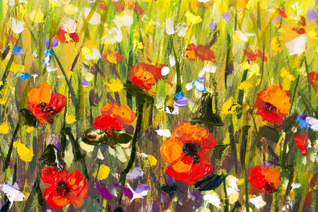 Red poppies flower field original handmade abstract oil painting red poppies flower field original handmade abstract oil painting bright flowers made palette knife mightylinksfo