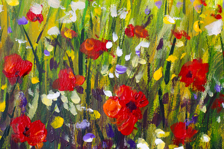 Red poppies flower field - Original handmade abstract oil painting bright flowers made palette knife. Yellow, blue, purple abstract flowers. Macro impasto painting.