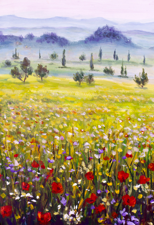 Painting Italian Tuscany, green meadows, cypresses, mountains in the fog Foto de archivo