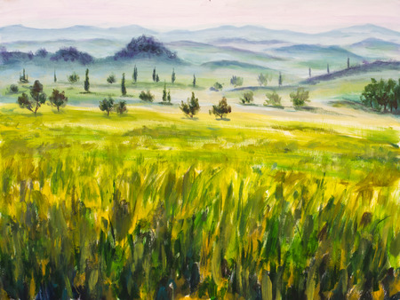 Oil painting with italian country landscape. Typical tuscan artwork with cypress and  mountains in fog. Hand drawn illustration.