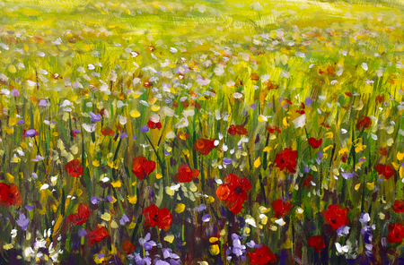 Oil painting of a poppy field. Summer flowers red field. Modern art - impressionism, texture.
