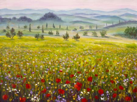 Italienische Toskana-Zypressen der Grafik gestalten mit Bergen, rote Mohnblumenfeldmalerei der Blumen auf Segeltuch landschaftlich. Illustrationskunst.
