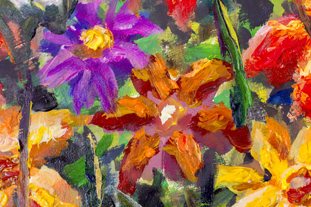 texture oil painting flowers, impressionism painting vivid flowers, closeup floral still life