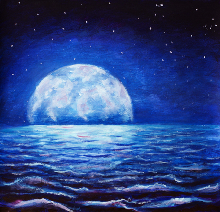 oil painting large glowing moon reflected in sea waves artwork