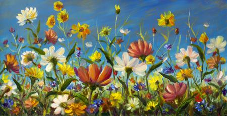 야생화-꽃의 원래 유화, 캔버스에 아름 다운 필드 꽃. 현대 인상파. Impasto 삽화. 미술 스톡 콘텐츠