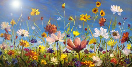 꽃의 유화, 캔버스에 아름다운 꽃 피는 필드 작품. 야생화. 현대 인상파 여러 가지 빛깔 된 밝은 여름 꽃입니다.