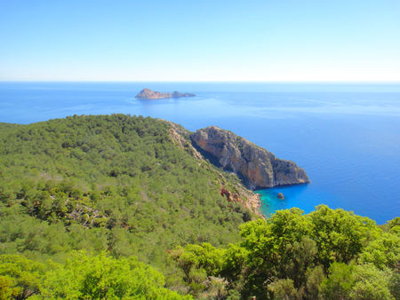 Lycian Way, Turkey nature. Beautiful Summer Landscape: mountains, blue sea, green trees.