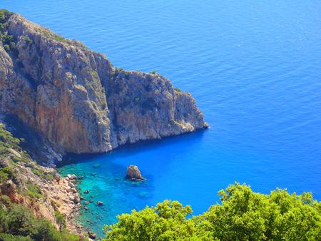 Sea. Seascape. Sea shore, beach. Sea island. Beautiful mountains. Blue summer sky. Turkey. Bright summer. Travel. For tour operators.