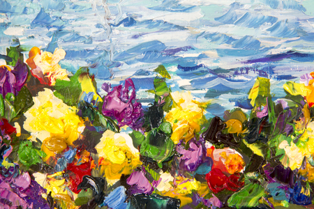 Abstract impressionism floral landscape Oil painting and palette knife impasto close-up. Yellow red violet flowers in a green grass against a background of blue sea waves. Fragment of painting.