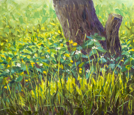 Glade of spring beautiful flowers near old tree. Forest rural sunny landscape. Close-up. High summer grass in foreground Impressionism palette knife painting Stock Photo