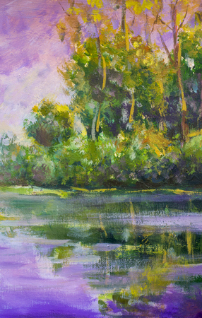 Violet warm sunset dawn over the lake. Rural summer landscape. Trees are reflected in water, a river, a pond. Fragment of oil painting. Standard-Bild