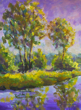 Violet warm sunset dawn over the lake. Rural summer landscape. Trees are reflected in water, a river, a pond. Fragment of oil painting. Foto de archivo