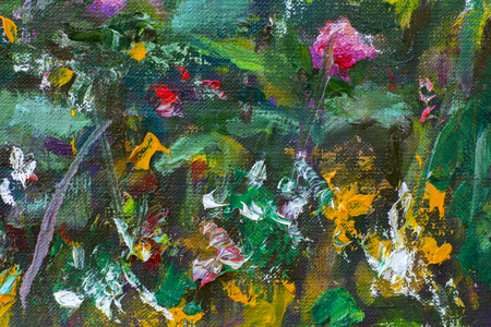 Original handmade abstract oil painting bright flowers made palette knife. red violet pink abstract flowers. Macro impasto painting. Stock Photo