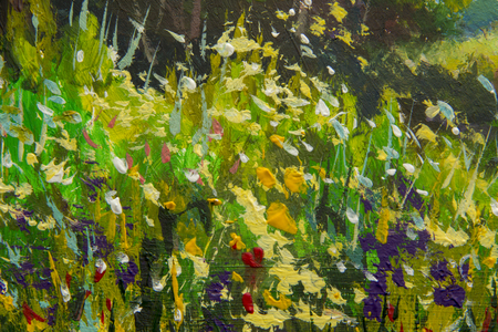 Abstract multicolored summer flowers. Glade of spring flowers. Close up Enlarged Fragment of painting. Expressionism acrylic artwork. Natural texture, floral background. Foto de archivo - 103860998