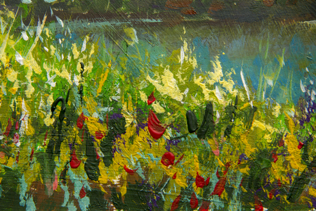 Abstract multicolored summer flowers. Glade of spring flowers. Close up Enlarged Fragment of painting. Expressionism acrylic artwork. Natural texture, floral background. Stock Photo