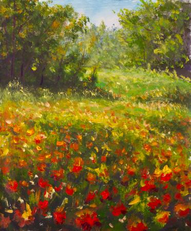 Peinture de coquelicots rouges. Champ de belles fleurs rouges en bois de forêt d'été chaud. Peinture à l'huile couteau à palette empâtement impressionnisme moderne sur toile. Oeuvre de paysage floral lumineux. Banque d'images