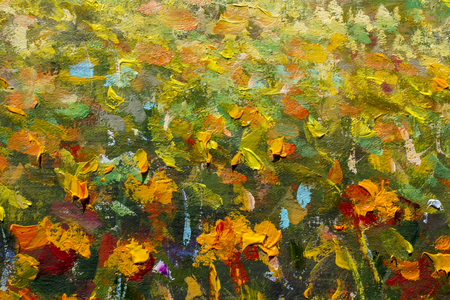 Original handmade abstract oil painting bright flowers made palette knife. Red, yellow, orange abstract flowers. Macro impasto painting. Stock Photo
