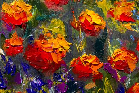 Strukturierte Blüten der roten Mohnblumen mit einer Palettenmesser-Nahaufnahme auf Hintergrund. Ursprüngliches Ölgemälde von Blumen, schöne Feldblumen auf Leinwand. Moderner Impressionismus. Impasto Kunstwerk.