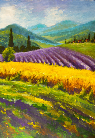 Oil painting Italian summer countryside. Lavender purple field. French Tuscany. Field of yellow rye. 스톡 콘텐츠