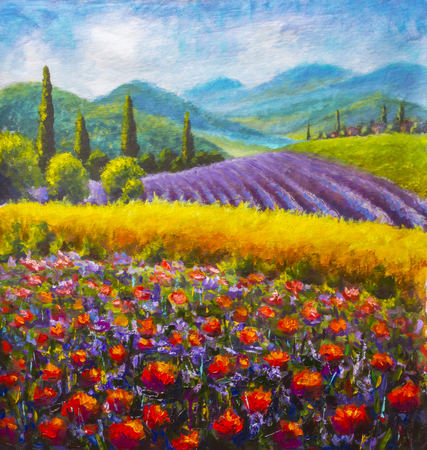 Red poppies painting. Italian Lavender summer countryside. French Tuscany. Field of yellow rye.