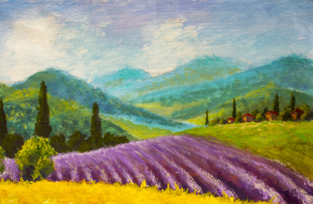 Oil painting Italian summer countryside. Lavender purple field. French Tuscany. Field of yellow rye. Stockfoto