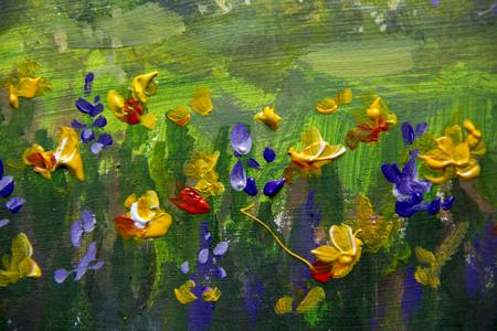 Flower oil painting violet orange yellow flowers field close up flower oil painting violet orange yellow flowers field close up oil paintings mightylinksfo