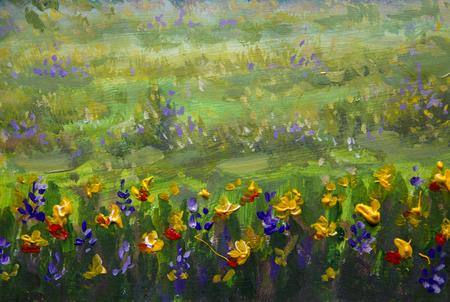Fine Arts Like Monet impressionism flowers painting claude oil landscape field paint. Stock Photo