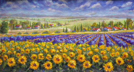 Tuscany summer Italian landscape. Violet blue lavender field, a yellow sun flower sunflowers, white houses with red roofs a bright palette knife painting, impressionism illustration nature artwork art. Stock Photo